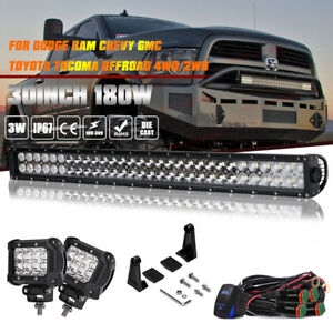 30 32inch 180w Led Work Light Bar Flood Spot Beam For Jeep Suv Dodge 4wd Offroad