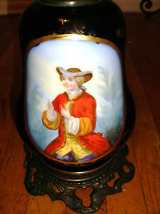 Antique Old Paris Sevres Style Hand Painted Boy Portrait Flowers Large Lamp