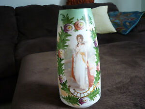Gorgeous White Bristol Glass Portrait Vase Queen Louise Prussia 11 1 2 Tall
