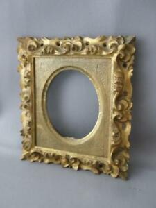 Antique Vtg Italian Florentine Gold Leaf Gilt Tole Wood Oval Photo Picture Frame