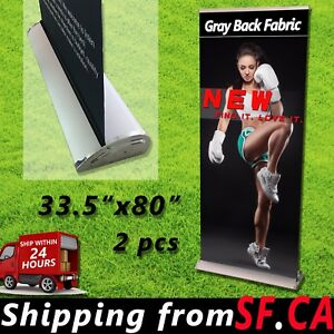 2 Pcs 33 5 X 60 92 Premium Retractable Roll Up Trade Show Display Banner Stand