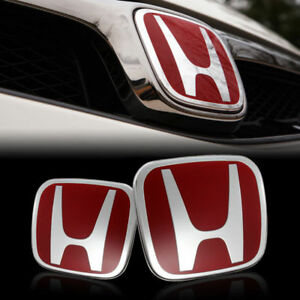 Red Jdm H Emblem 2pcs Set Front Rear For 2016 2018 Honda Civic Sedan Dx Lx Si