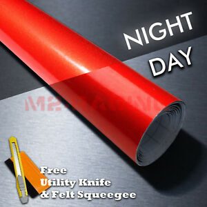 48 x96 Reflective Red Vinyl Wrap Sticker Decal Graphic Sign Car Adhesive Film