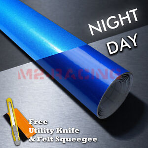 48 x84 Reflective Blue Vinyl Wrap Sticker Decal Graphic Sign Car Adhesive Film