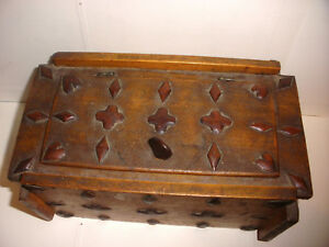 Unique Antique Circa 1860 Folk Art Hand Carved Wood Decorated Playing