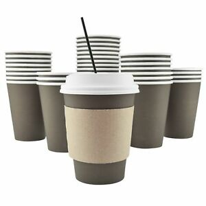 Ackbrands 100 Pack 12 Oz Disposable Hot Paper Coffee Cups Lids Sleeves
