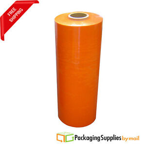 20 X 80ga X 5000 Stretch Pallet Machine Wrap Orange Shrink Film 3 Rolls usa
