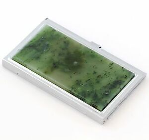Russian Nephrite Jade Inlay Business Card Holder Credit Id Card Wallet Case Box