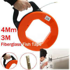 30m Electrical Fiber Glass Fish Tape Reel Conduit Ducting Rodder Cable Puller