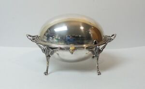 English Silver Plate Rolling Dome Breakfast Buffet Server 7