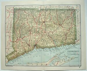 Original 1893 Map Of Connecticut By Dodd Mead Company