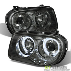 Smoked 05 10 Chrysler 300c Ccfl Halo Projector Led Headlights Lights Left Right