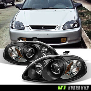 For Blk 1996 1998 Honda Civic Led Halo Projector Headlights Headlamps Left Right