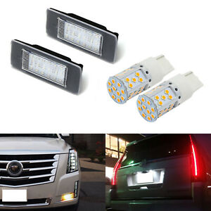 Canbus Led Turn Signal Led License Plate Lamps Kit For 15 up Cadillac Escalade