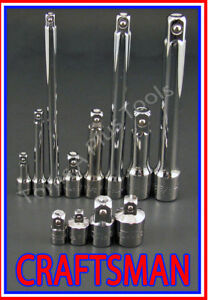 Craftsman Tools 12pc Lot 1 4 3 8 1 2 Ratchet Wrench Socket Extension Adapter Set