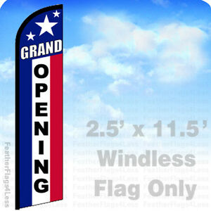 Grand Opening Windless Swooper Feather Flag Banner Sign 2 5x11 5 Stars F