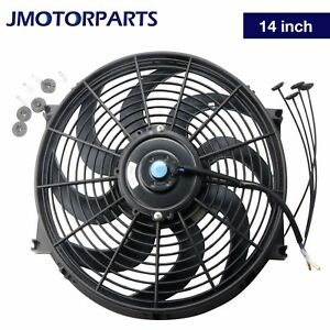 1pc 14 Inch Universal Slim Pull Push 12v Racing Electric Radiator Cooling Fan