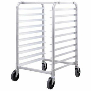10 Sheet Aluminum Bakery Rack Commercial Cookie Bun Pan Kitchen W wheel