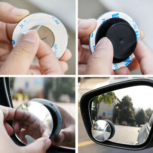 1pair Wide Angle Convex Car Blind Spot Round Stick On Side View Rearview Mirror