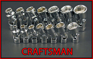 Craftsman Tools 14pc 1 4 3 8 6pt Sae Universal Flex Ratchet Wrench Socket Set
