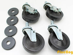 Lot Of 4 J5 5 Resilient Rubber Caster With Brake And Donut Bumper Wheels Metro