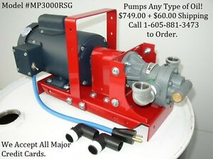 New Portable Waste used Oil Pump For Heaters burner furnace biodiesel wvo 12 Gpm
