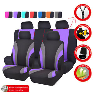 Universal Car Seat Covers Black Purple For Women Girls Car Truck Suv Honda Holde
