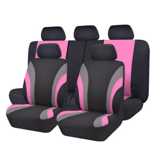 Universal Car Seat Covers Black Pink For Women Girls Car Truck Suv Honda Holden