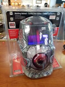 Lincoln Electric K3190 1 Auto darkening Welding Helmet Hood Bloodshot Shade 9 13