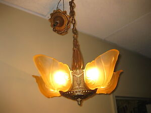1930s Cast Iron 5 Light Slip Shade Chandelier Markel
