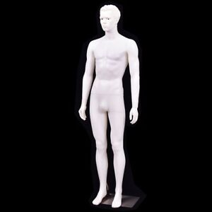 Male Mannequin Full Body Form Manikin W Metal Stand Base White 6 Ft Display New