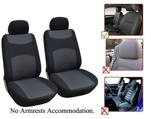 2 Front Bucket Fabric Car Seat Cover Compatible For Volkswagen M1410 Black