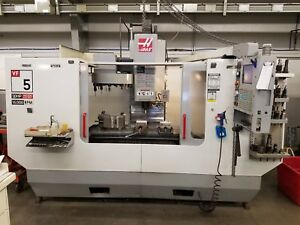 Haas Vf5 D 40 4th Axis Ready Vertical Cnc Mill 15k Spindle Low Hours Aluminum