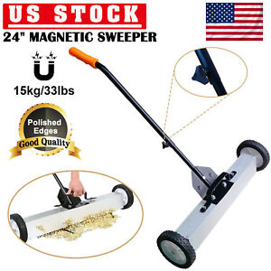 24 Heavy Duty Magnetic Floor Sweeper Wheel Wide Pick Up Roller Push Broom Tool