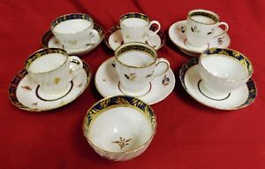 Royal Worcester Dr Wall Porcelain Cups Saucers Gilt Highlights 18th C