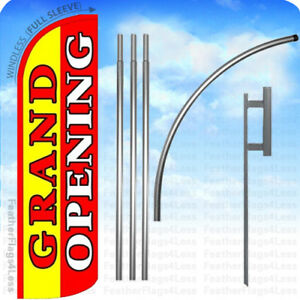 Grand Opening Windless Swooper Feather Flag 15 Kit Banner Sign