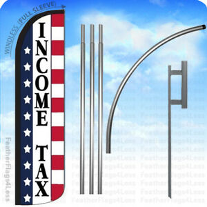 Income Tax Windless Swooper Flag 15 Kit Feather Sign Stars Stripes Wz