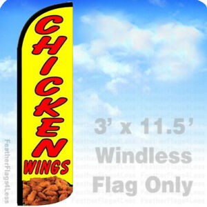Chicken Wings Windless Swooper Feather Flag 3x11 5 Banner Sign Yq