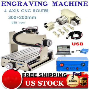 300w Usb 4axis 3020t Cnc Router Engraver Milliing Machine 3d Cutter Woodworking