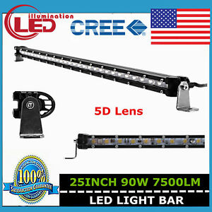 25 inch 90w Cree Led Light Bar Single Row Slim 5d Lens Off road Driving Light