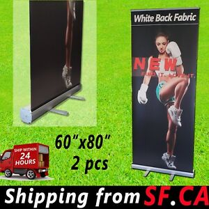 2 Pack 60 x 80 Retractable Roll Up Banner Stand Trade Show Pop Up Display Stand