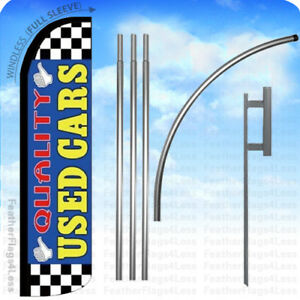 Quality Used Cars Windless Swooper Flag 15 Kit Feather Banner Sign Bz