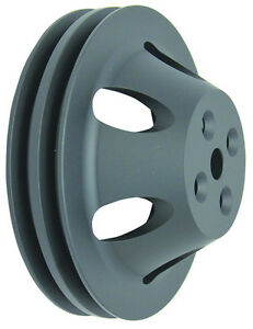 Bbc Big Block Chevy 2 Groove Black Aluminum Short Water Pump Pulley 396 427 454