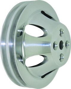 Bbc Big Block Chevy 2 Groove Polished Aluminum Short Water Pump Pulley 396 454