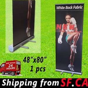 Retractable Roll Up Banner Stand Trade Show Pop Up Display Stand 48 x80