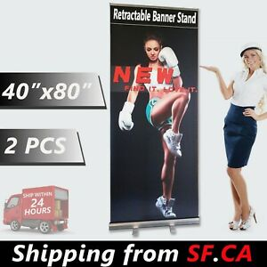 2 Pcs 40 X 80 Retractable Banner Stand Roll Up Trade Show Display Stand