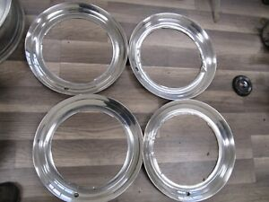Vintage 15 Chrome Flat Trim Rings For Steel Wheels Very Nice And Rare