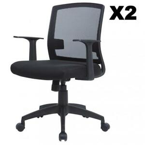 Set Of 2 Ergonomic Midback Mesh Office Chair Swivel Computer Desk Task Chair