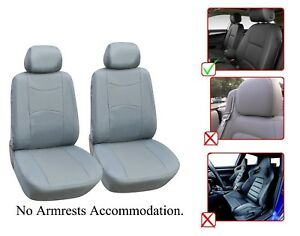 Vinyl Leather Two Front Car Seat Covers For Jeep L1510 Gray