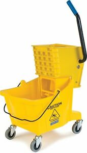 Carlisle 3690804 Commercial Mop Bucket With Side Press Wringer 26 Quart